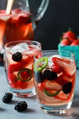 Image of easy, sweet, and spicy strawberry jalapeno white sangria