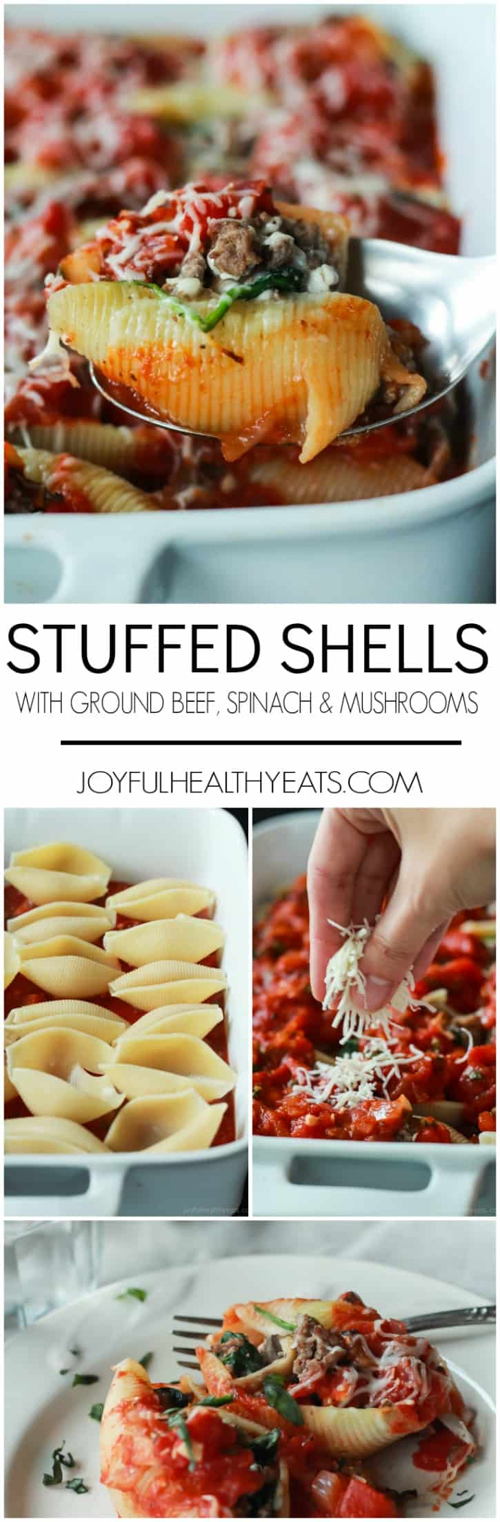 An easy Stuffed Shells recipe with ground beef, spinach, and mushrooms then topped with a homemade marinara sauce - all for only 223 calories per serving!   joyfulhealthyeats.com #recipes
