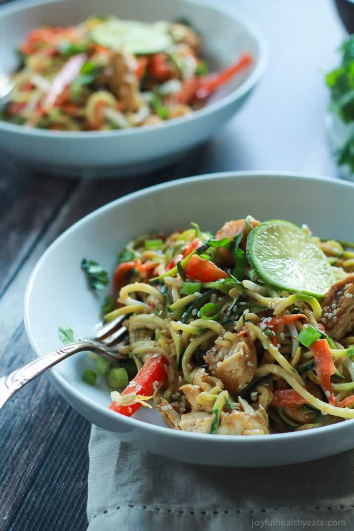 Thai Chicken Zoodles with Spicy Peanut Sauce