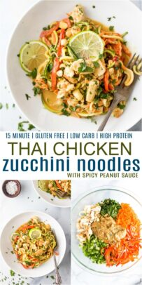 pinterest image for thai chicken zucchini noodles with spicy peanut sauce