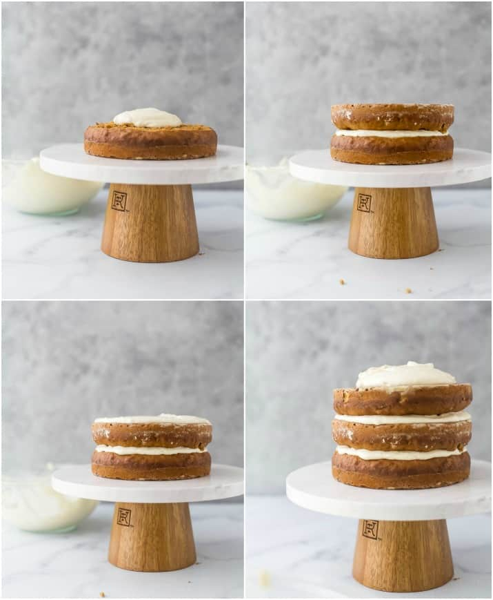 process photos of how to make and assemble The BEST Hummingbird Cake Recipe with Light Cream Cheese Frosting