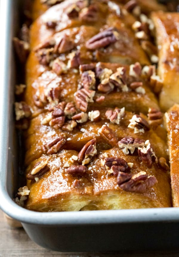 Sticky Bun French Toast Topped with Walnuts in a Pan