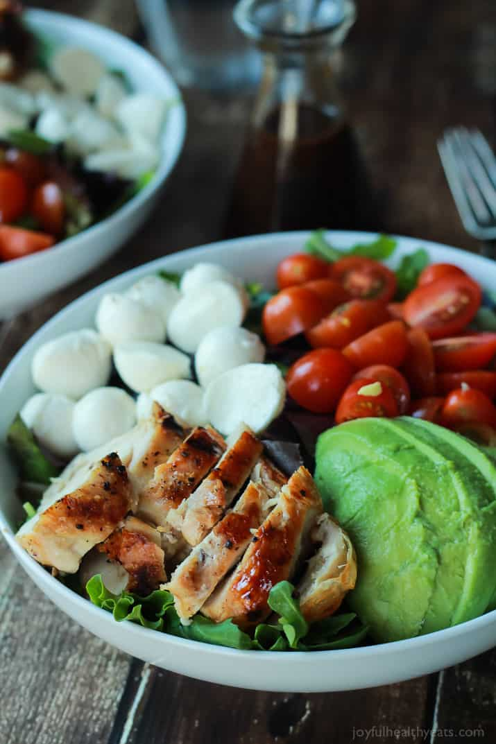 15 minute avocado caprese chicken salad with balsamic vinaigrette