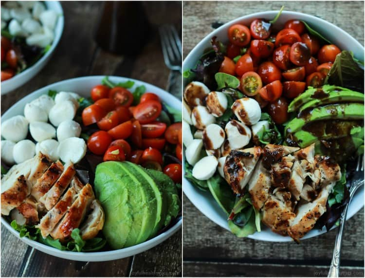 A Quick Easy Dinner For Two Avocado Caprese Chicken Salad Topped With A Light Balsamic