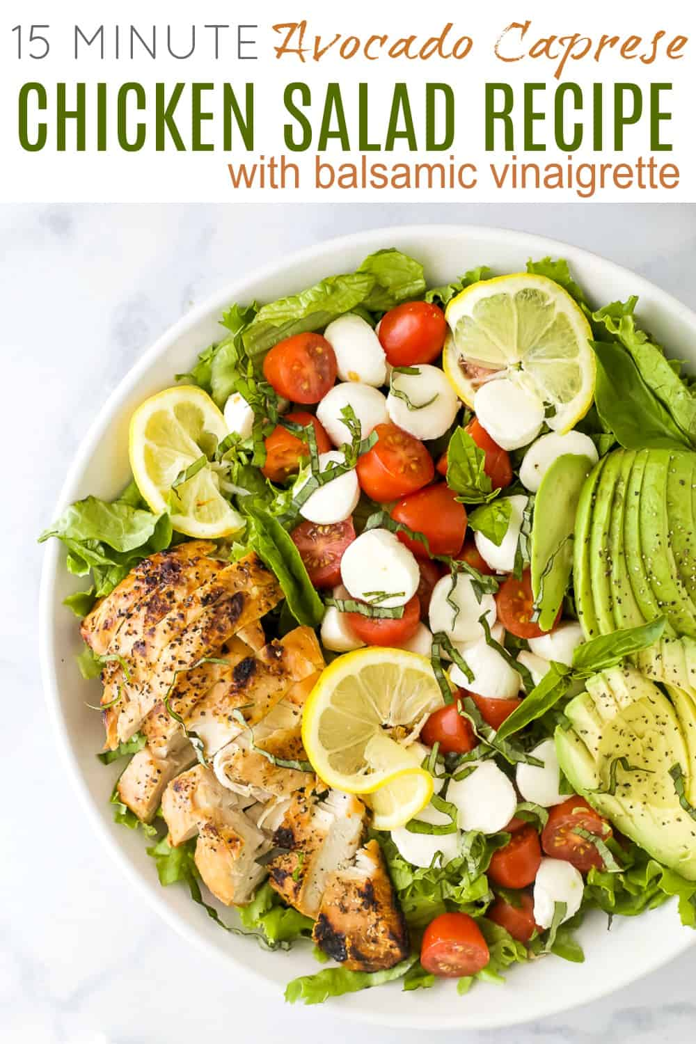 pinterest image for avocado caprese chicken salad with balsamic vinaigrette