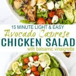pinerest image for avocado caprese chicken salad with balsamic vinaigrette