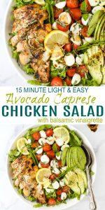 pinerest image for avocado caprese chicken salad with balsamic vinaigrette