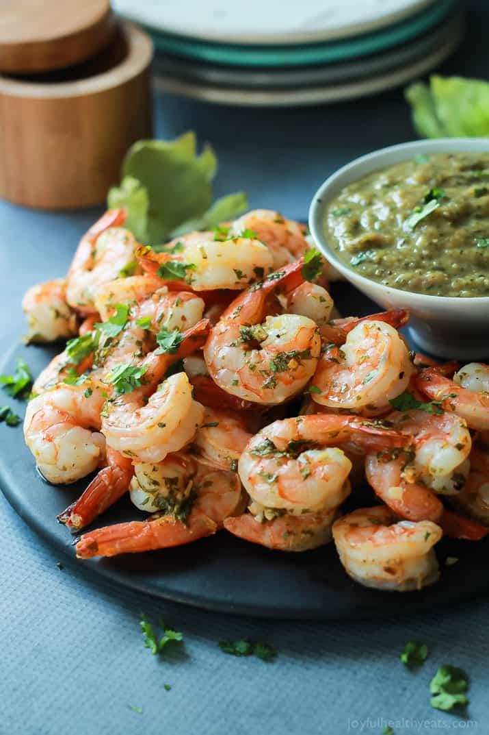 cilantro lime roasted shrimp with tomatillo sauce easy healthy recipes