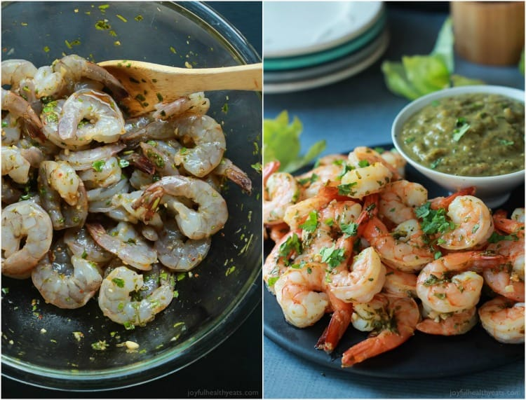 Collage of Cilantro Lime Roasted Shrimp before and after cooking