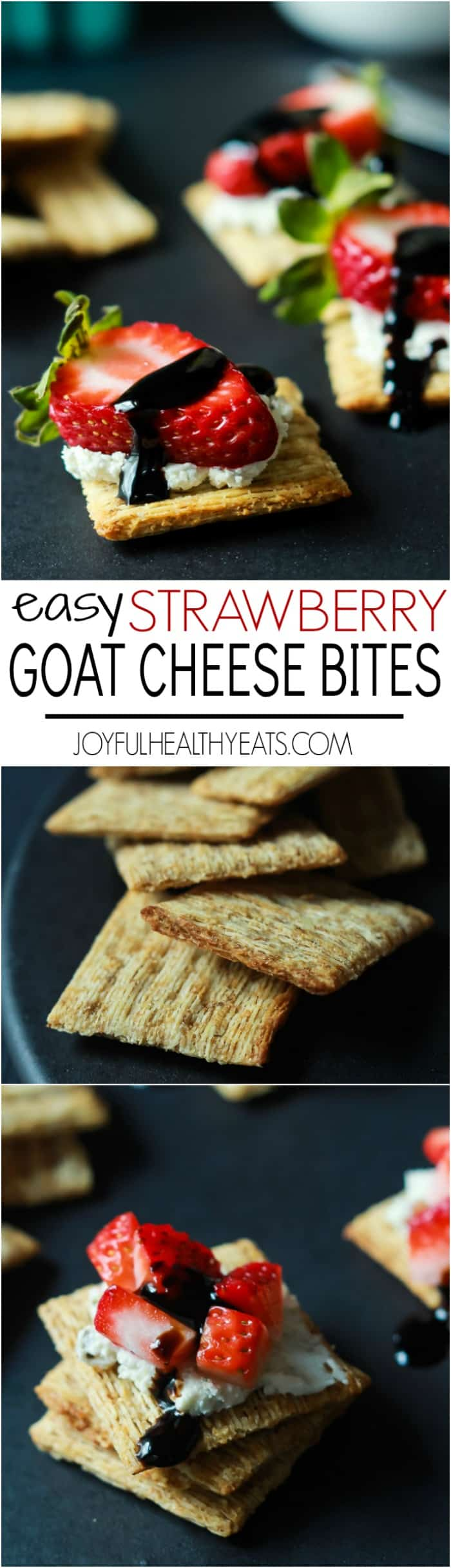 Recipe collage for Easy Strawberry Goat Cheese Bites