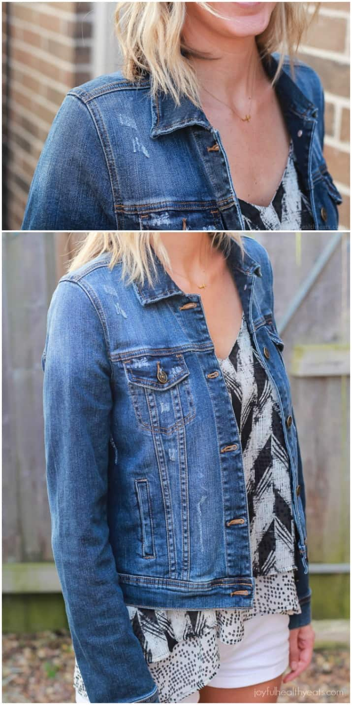 Awesome Trendy Clothes sent straight to your house! Perfect for the summer - Light Spaghetti Strap Blouse, Weathered Jean Jacket, and cute Lace Shirt! |joyfulhealthyeats.com #stitchfix