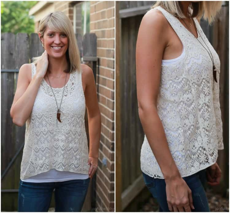 Awesome Trendy Clothes sent straight to your house! Perfect for the summer - coral cut out blouse, trendy turquoise dress, and bohemian crochet tank tops ! |joyfulhealthyeats.com #stitchfix