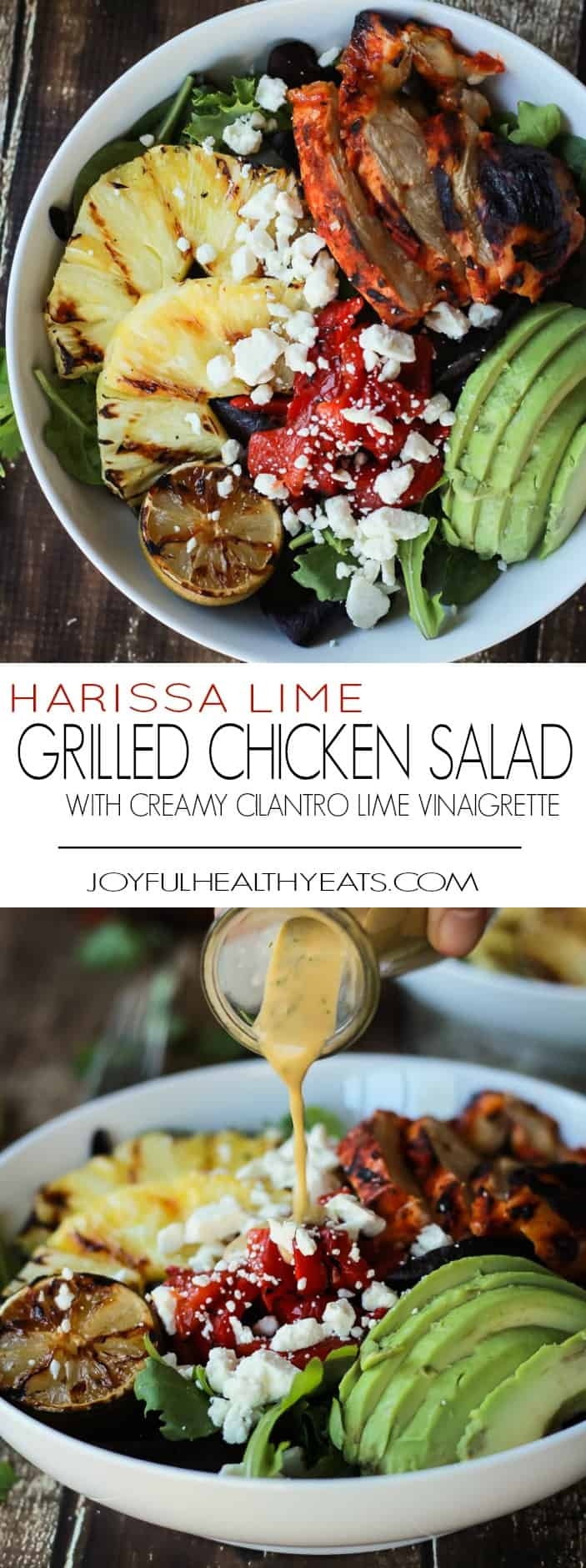 Recipe collage for Harissa Lime Grilled Chicken Salad with Creamy Cilantro Lime Vinaigrette