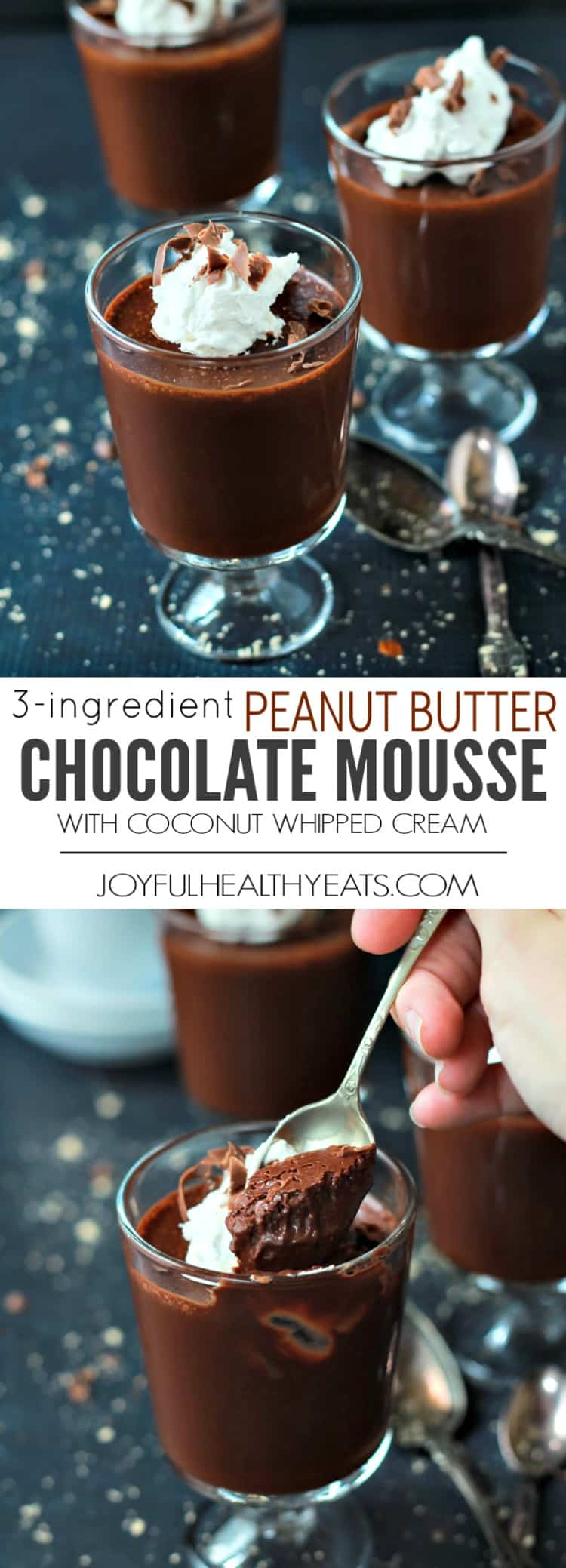 Four Cups of Peanut Butter Chocolate Mousse with Coconut Whipped