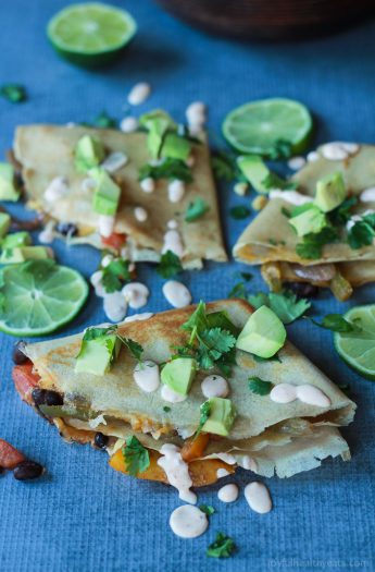 Image of Vegetarian Crepe Quesadillas with Chipotle Lime Crema