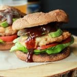 BBQ Chicken Burgers with Caramelized Onions