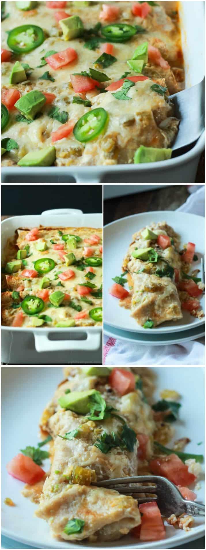 Easy Chicken Enchilada Recipe with Creamy Green Chili Sauce | Easy ...