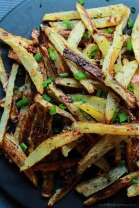 Crispy Baked Garlic Parmesan Fries are crispy on the outside and soft ...