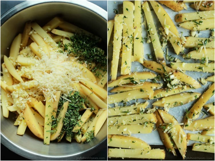 Ingredients for Crispy Baked Garlic Parmesan Fries in a bowl and unbaked fries on a baking sheet