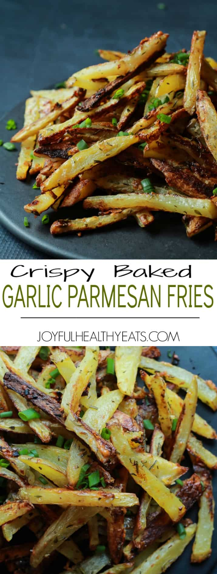 Collage for Crispy Baked Garlic Parmesan Fries recipe