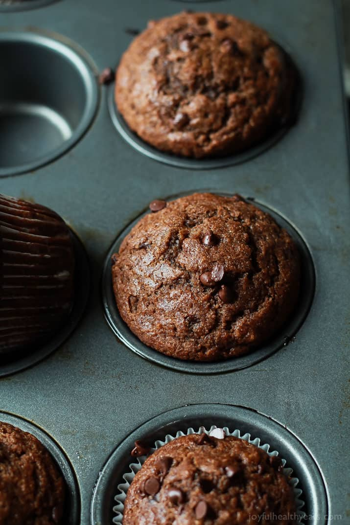 skinny double chocolate banana muffins in a pan