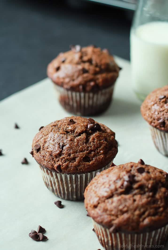 skinny double chocolate banana muffins