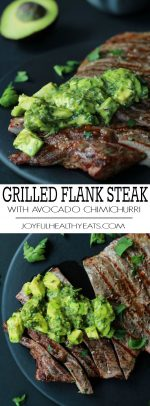 Juicy A photo collage of Grilled Flank Steak topped with a fresh Avocado Chimichurri