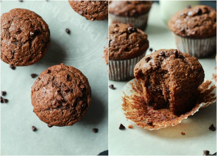 Refined Sugar free, crazy moist, loads of chocolate flavor with great banana taste. These Skinny Double Chocolate Banana Muffins are the muffins of your dreams! | joyfulhealthyeats.com #recipes