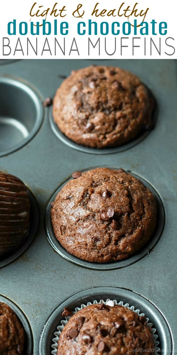 pinterest image for skinny double chocolate banana muffins