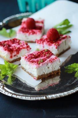 Skinny Raspberry Mojito Cheesecake Bars
