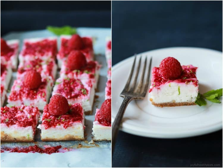 Skinny Raspberry Mojito Cheesecake Bars filled with creamy cheesecake goodness, fresh mint and lime juice, then topped with a fresh raspberry compote - only 130 calories! Perfect for summer parties! | joyfulhealthyeats.com #RaspberryDessert #Driscollsberry #ad