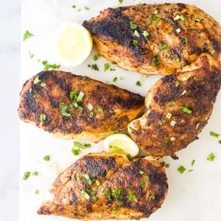 overhead photo of the best easy grilled chicken recipe