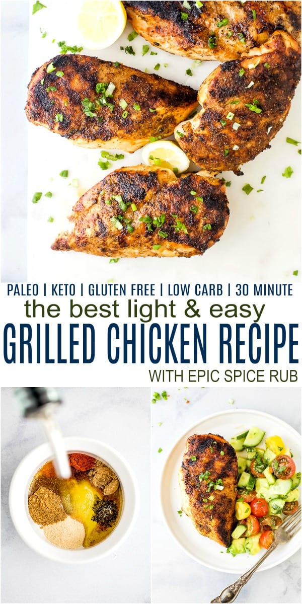 pinterest image for the best easy grilled chicken recipe