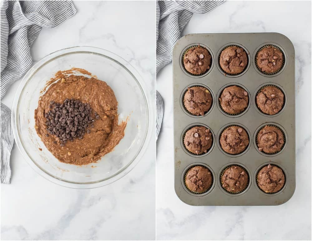 how to make the best skinny double chocolate banana muffins