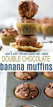 pinterest image for the best skinny double chocolate banana muffins