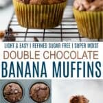 pinterest image for the best skinny double chocolate muffins
