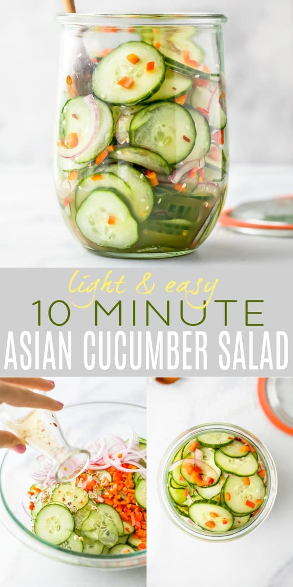 pinterest image for 10 Minute Easy Asian Cucumber Salad Recipe (Dairy Free)