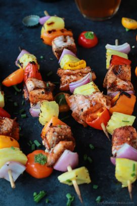 Caribbean Grilled Salmon Kabobs-5