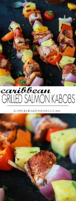 Caribbean Grilled Salmon Kabobs will take you straight to the islands with the cajun spices, fresh pineapple, bell peppers, and fresh seafood! Perfect healthy grilling recipe for the summer done in 20 minutes!   joyfulhealthyeats.com #recipes