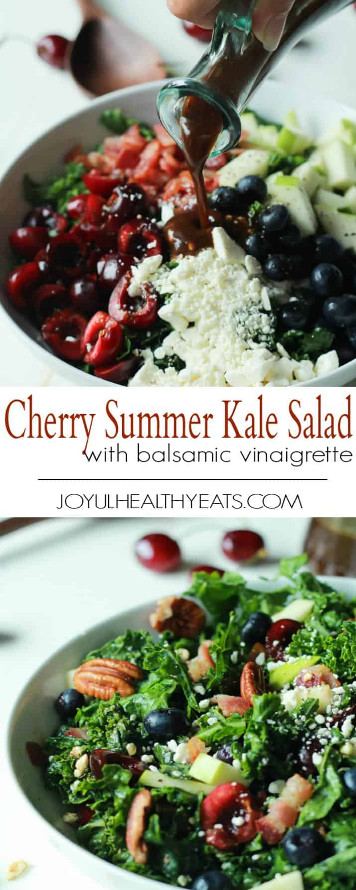 Pinterest collage for Cherry Summer Kale Salad with Balsamic Vinaigrette recipe