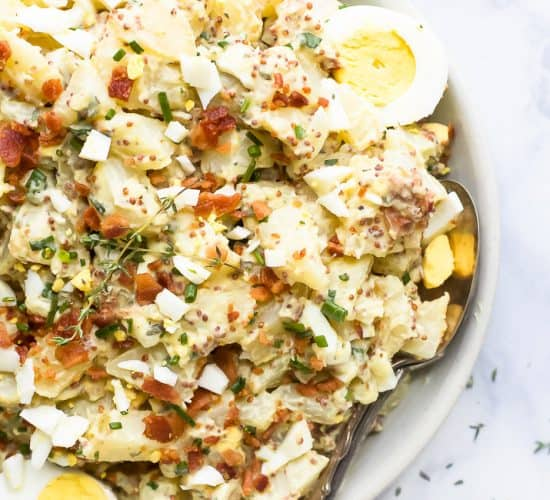overhead photo of creamy easy potato salad recipe with bacon