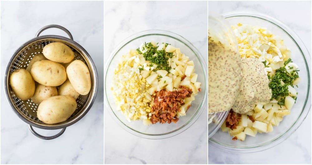 process photos of how to make creamy easy potato salad with bacon