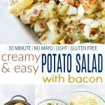 pinterest image for creamy easy potato salad with bacon