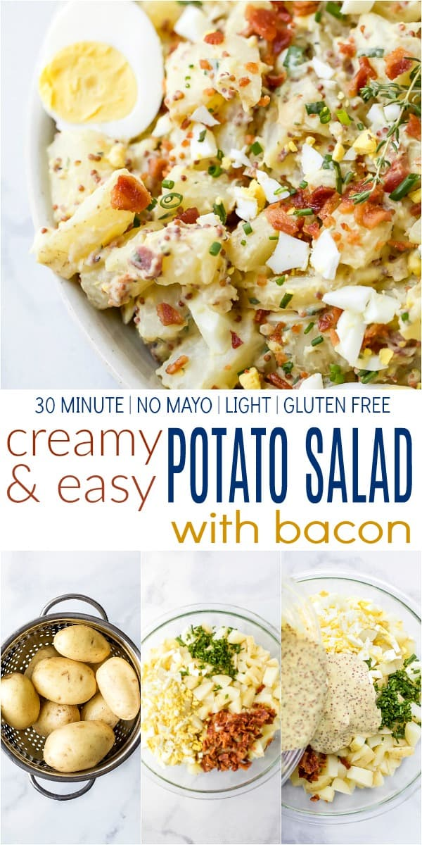 Recipe collage for creamy easy potato salad with bacon