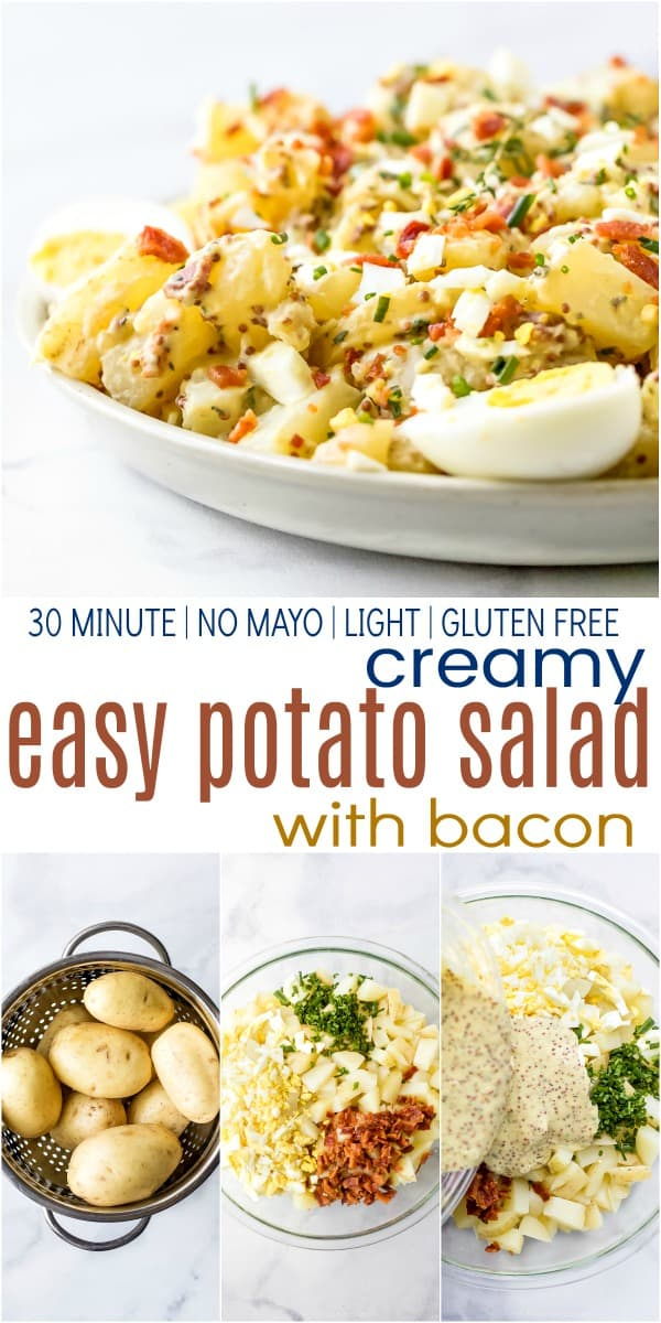 pinterest image for creamy easy potato salad