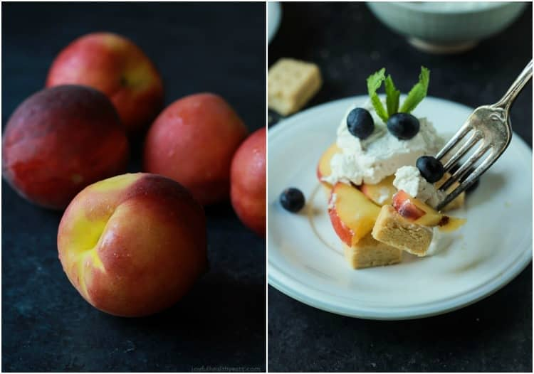 Collage of fresh peaches and a serving of Peach Shortcake on a plate