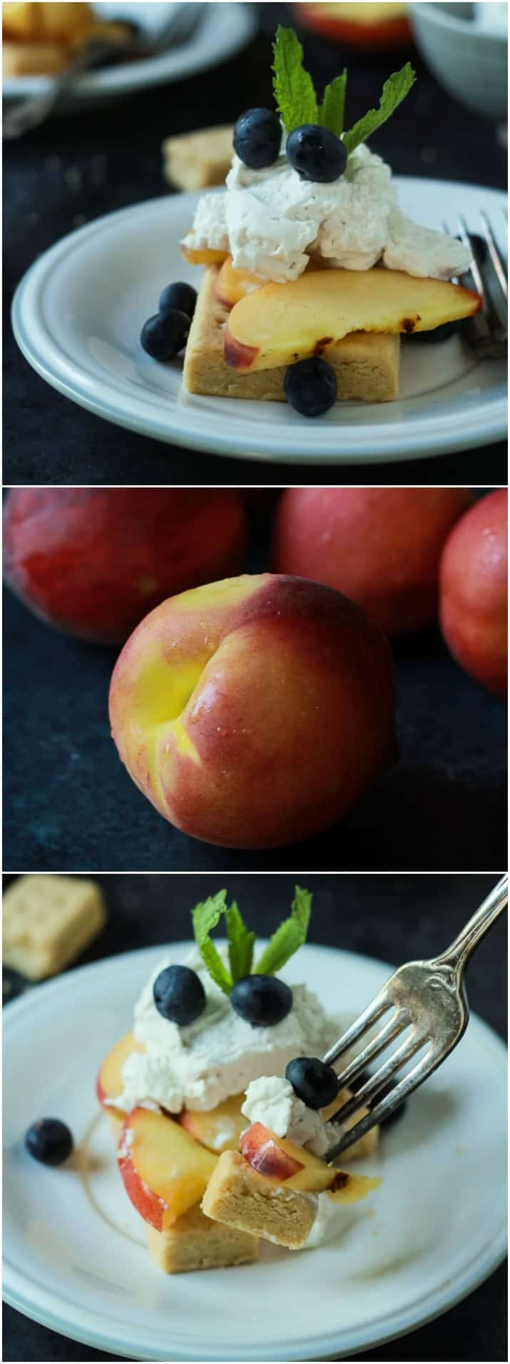 Collage of fresh peaches and servings of Grilled Peach Shortcake on a plate
