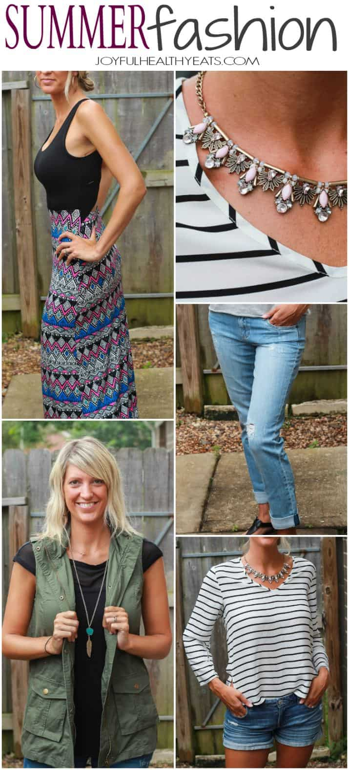 Awesome Trendy Clothes sent straight to your house! Perfect for the summer - floral gold necklaces, trendy maxi dresses, and distressed boyfriend jeans ! |joyfulhealthyeats.com #stitchfix