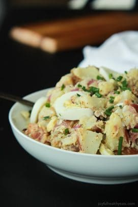 Lighter Potato Salad with Bacon and Creamy Mustard Sauce-7