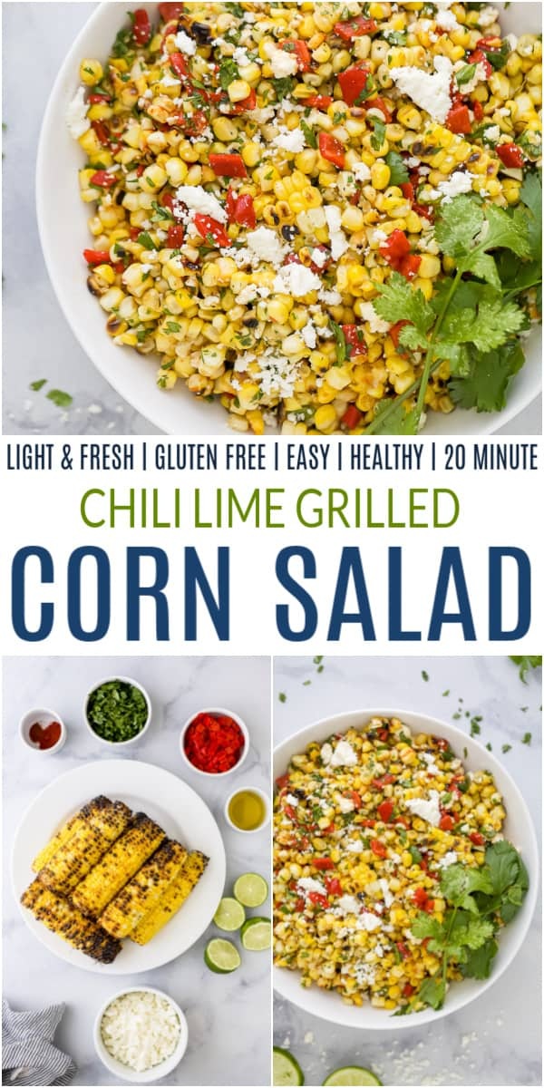 pinterest image for chili lime grilled corn salad